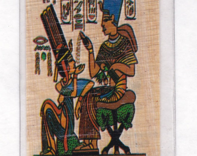 New! Temple Egyptian Papyrus Bookmarks with Egyptian Alphabet! King Tut and Wife on a Throne! Great for Tut projects, Teacher Gift, Students
