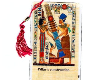 Egyptian Papyrus Bookmark-Pillars Construction. Ancient Egyptian hieroglyphics are part of this beautiful design. Great for book clubs!