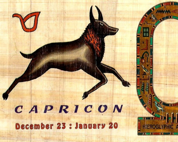 New! Zodiac Capricorn Papyrus Stickers! Write your name in hieroglyphics.. Unique gift for those with birthdays in dec. and jan.! Fun gift!