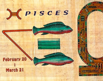 New! Zodiac Pisces Papyrus Sticker! Write your name in hieroglyphics. Great gift for birthdays in Feb and March ! Something different!