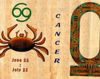 New! Zodiac Cancer Papyrus Stickers! Write your name in hieroglphics. Unique gift for those with birthdays in June and july. Fun gift!