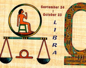 New! Zodiac Libra Papyrus Stickers! Write your name in hieroglyphics. Unique gift for those with birthdays in Sept. and Oct.! Fun gift!