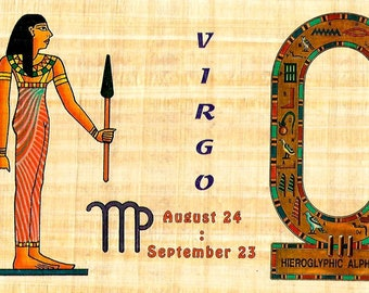 New! Zodiac Virgo Papyrus Stickers! Write your name in hieroglyphics. Unique gift for those with birthdays in Aug. and Sept.! Fun gift!