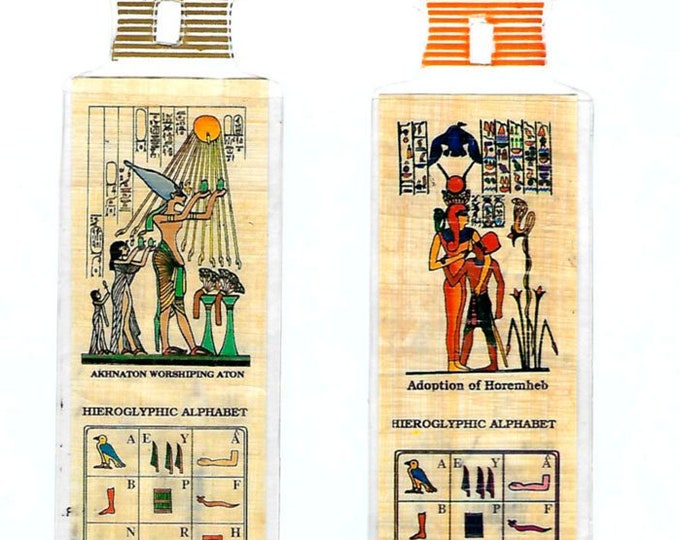 New! Special! Two Egyptian Papyrus Bookmarks for the price of one! Just 2.00! Akhnaton worshipping the sun god and Pharaoh Horemheb.