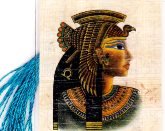 Queen Cleopatra Papyrus Bookmark! A beautiful, unique, inexpensive gift for women, girls, teens. Cleopatra gifts. Book lover gift.