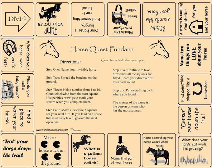 HORSES! Our Horse Quest Fundana is a fun, interactive game about horses! Great for Kids, Scouts, Camps, Birthday parties, dude ranches!