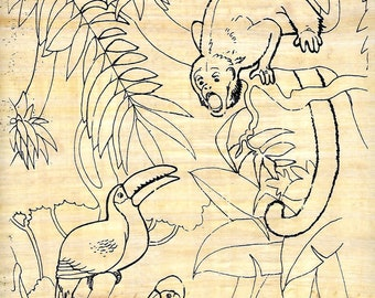 New! Jungle scene on papyrus! Paint it, color it! Fun art activity for kids, camp, rainy days and more! Draw on papyrus! Markers available.