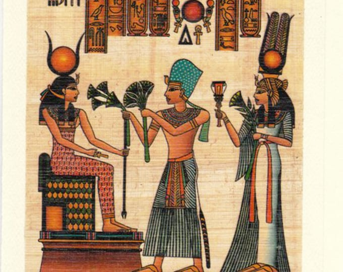 Egyptian Papyrus Notecard-King and Queen making an offering. Blank inside. Beautiful, useful, unique gift! Or a special way to send a note.