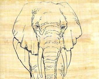 New! Color On Egyptian Papyrus Elephant design! Use markers, paints to make a unique art activity. Great for kids, camps! Markers available!