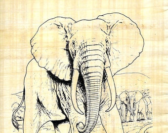 New! Color Our Papyrus-Elephant with herd design! Paint it, use markers, color it! Unique, creative art activity for kids, campers and more