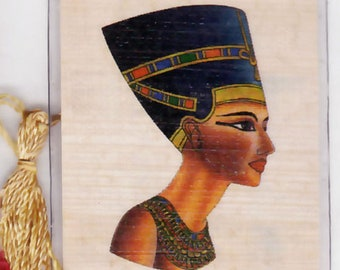 Queen Nefertiti Egyptian Papyrus Bookmark. Unique, inexpensive gift for women, teens, book clubs, party favors, home schoolers!