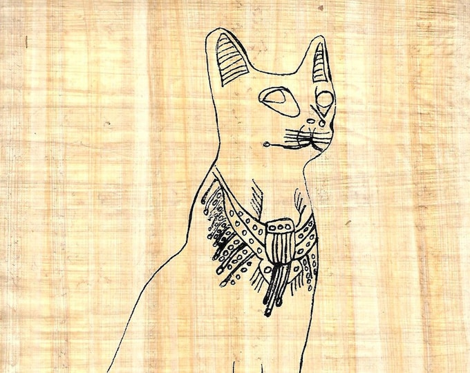 New! Color Bastet-Egyptian Cat Goddess on papyrus. Create Your own papyrus painting! Creative gift for kids, cat lovers, artists and more!