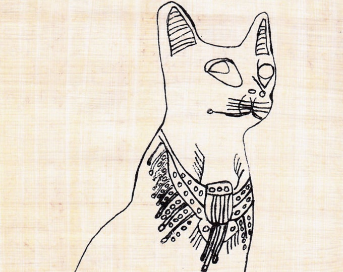 Color Bastet Goddess of Cats Egyptian Papyrus Sheet! Create your own work of Art! Fun activity for kids, adults!