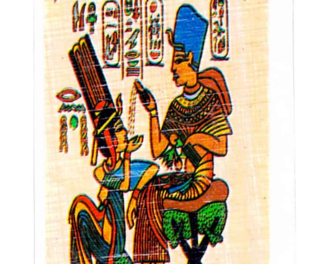 Hieroglyphic Alphabet Papyrus bookmarks. King Tut and Wife on a Throne design. Unique gift. Great for Tut projects, Teacher Gift, Students