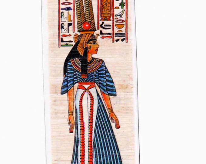 Nefertari Egyptian Papyrus Bookmark. Egyptian Queen and first of the Great Royal Wives. Unique, beautiful, practical gift for all!