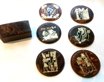 New! Egyptian Coasters!  Set of 6 hand tooled round leather coasters with cork back. Horus, Cleopatra, Nefertiti! Marbled brown color.