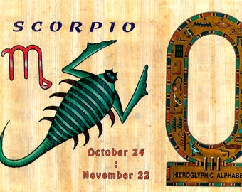 New! Zodiac Scorpio Papyrus Stickers! Write your name in hieroglphics. Unique gift for those with birthdays in Oct. and Nov.! Fun gift!