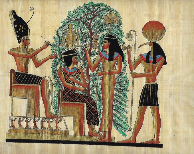 New! Papyrus Painting with Thoth, Osris in the front of the tree of life. Just add a frame. Measures approx. 9 x 14 inches. Great gift!