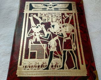 New! Egyptian Hand Tooled Leather Portfolio! Beautiful Burgundy color! Horus, Osiris in black and gold are on the cover. Makes a great gift