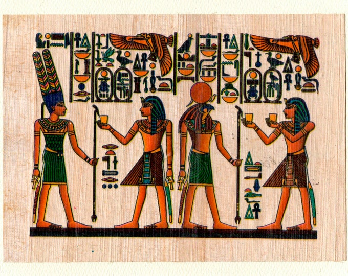 New! Egyptian Scene with Horus-god of light Papyrus note card! Beautiful, detailed in design. Perfect for men and women! Inexpensive gift!