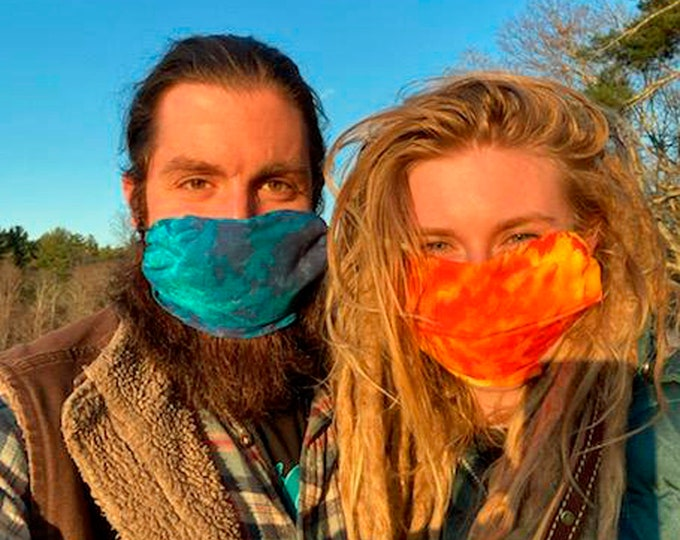 Tie Dye Bandana Mask Kits! 2 to a pack.  Soft, Colorful, washable in hot water, reusable. Comes ready to wear! 100% cotton bandanas.