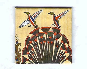 Geese Flying over Papyrus design. The magnet is a unique, useful gift! Nature lovers, bird watchers, teacher gift.