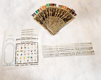 New! Egypt Hieroglyphic Alphabet Value Pack! Teach kids about the Egyptian alphabet! 12 stickers, 12 papyrus bookmarks, 12 number stickers!