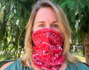 New! DOUBLE LAYER Paisley Face Masks!  Soft, Reusable, Washable, Made in the USA, Neck Gaiter, Face masks! easy on/off! 100% polyester.