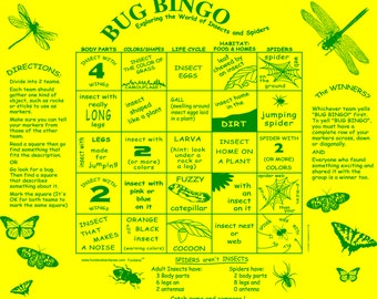 Bug Bingo Game in your backyard! Learn about the wonderful world of bugs in  a fun way! Great for kids at home, scouts, family activity!