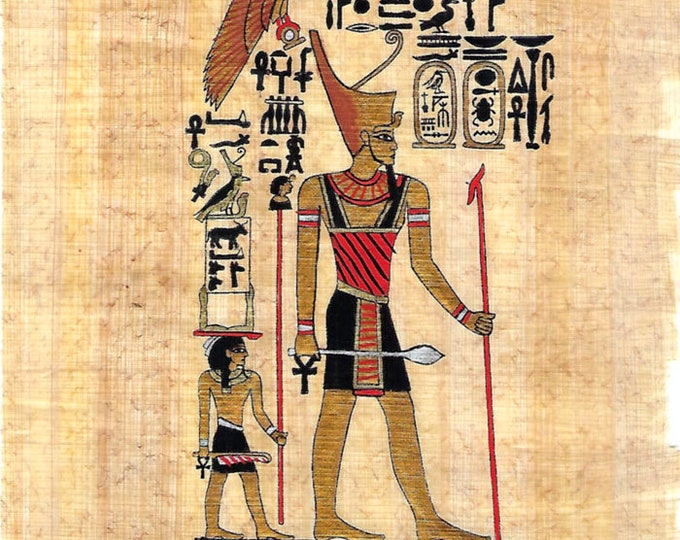 New! Egyptian King Hand Painted Papyrus Print! Unique gift for your husband, best friend, co-worker, boss! Just frame it!