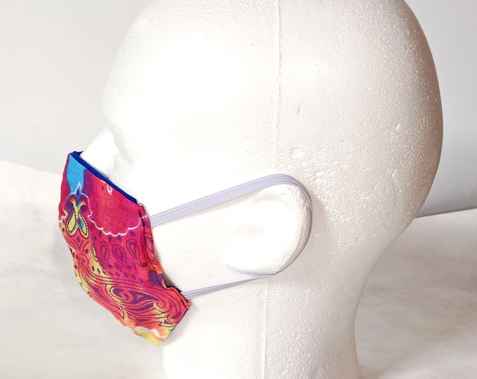 New! Paisley Tie Dye Face Mask! Reusable, washable 100% Cotton, Cool Face Masks. Colorful, psychedelic paisely, inside is royal blue.