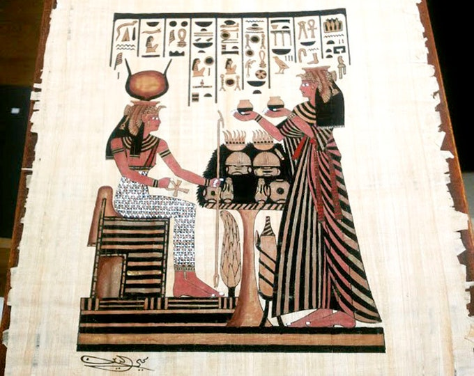 New! Goddess of Motherhood and Nefertari hand painted papyrus print. Unique gift for wives, girlfriends! Measures approx. 12 x 16.