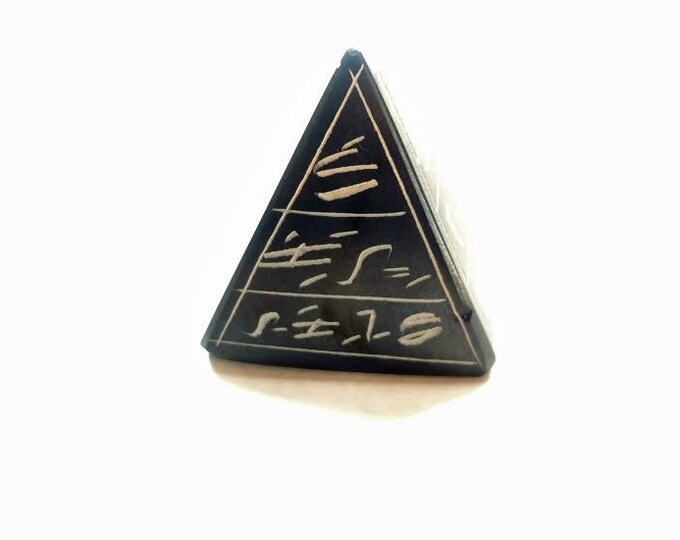 New! Basalt Stone Pyramid Hand Carved! Great decoration for home, office. Highly detailed. Unique gift for men, women, bosses, teachers!