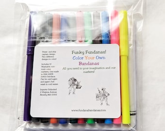 At home fun, useful, craft activity! Girl Pirate and Captain Color Your Own Bandanas. Comes with washable markers.