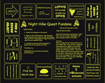 Time for Night Hikes! Use our Night Hike Fundana. Great for camps! Unique scavenger hunt game to use your senses at night.