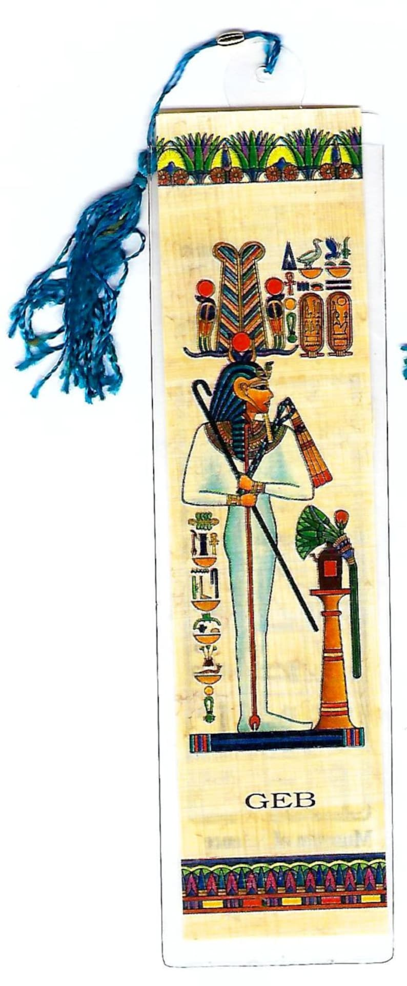 Geb-Egyptian God of the Earth Papyrus Bookmark  A unique, useful gift for  teachers, book clubs, home schoolers, party favors!