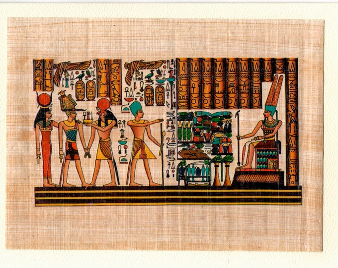 New! Gathering of Egyptian Gods Papyrus note card! Horus, Goddess of Motherhood, Osiris and others. Detailed, beautiful design!