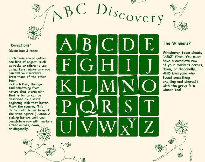 NEW! ABC Discovery Fundana! Fun, combination scavenger hunt/bingo game. A creative way to learn about nature and the alphabet!