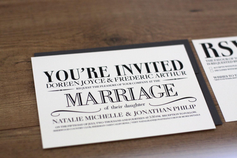 Printable / Vintage Modern Wedding Invitation Card DIY | Etsy