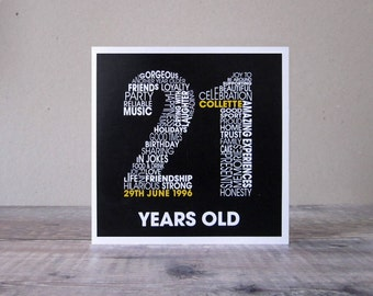 21st Birthday Personalised Card