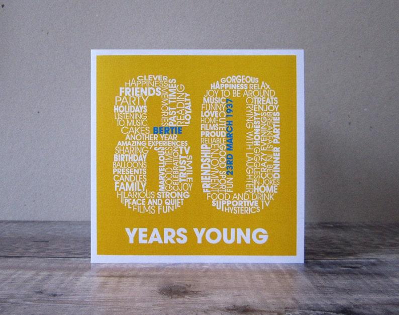 80th Birthday Card Eightieth Personalized