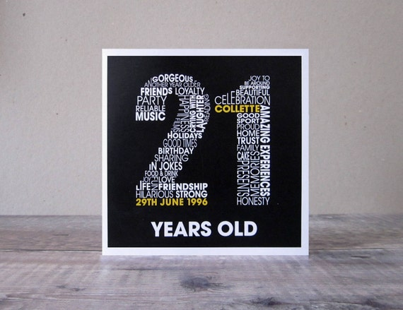 21st Birthday Personalised Card