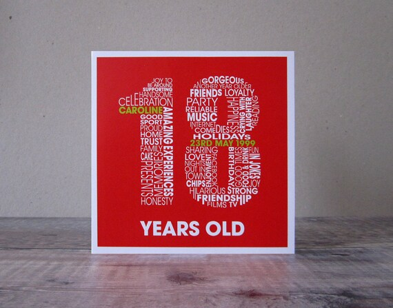 18th Birthday Card 18th Birthday Personalized Cards Etsy