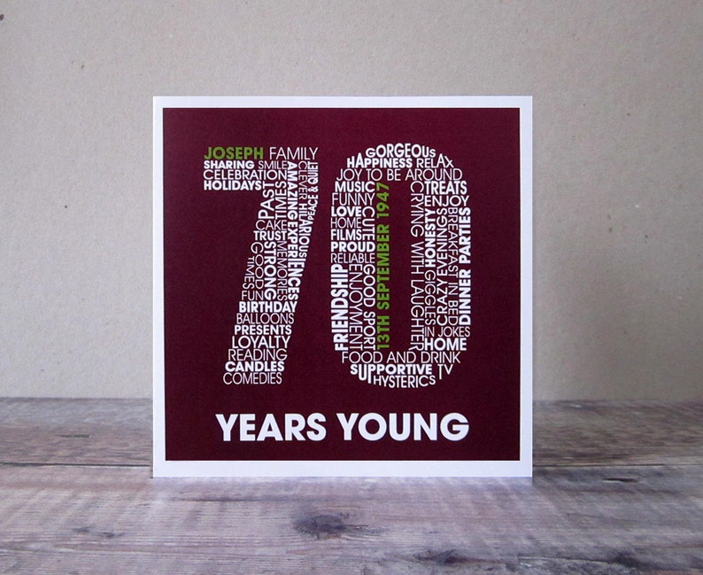 70th Birthday Personalised Card Personalized