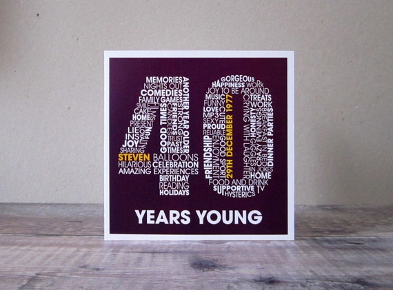 40th Birthday Card Fortieth Personalized Cards