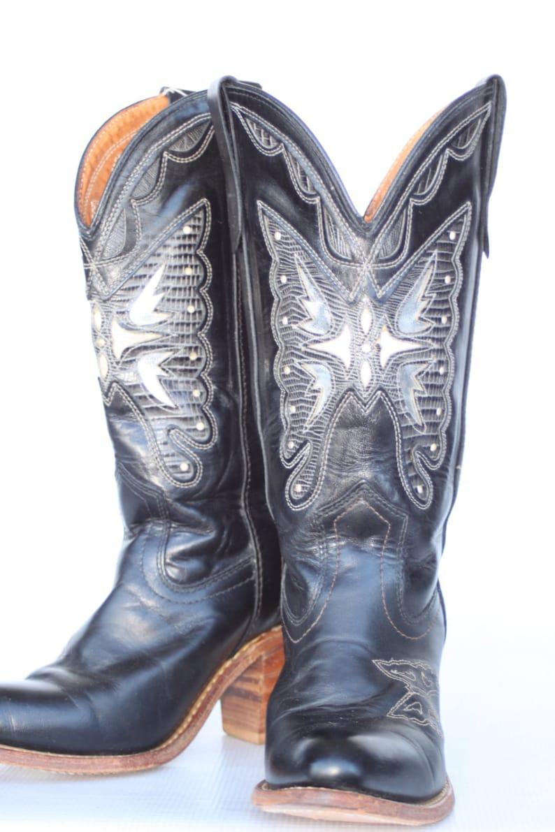 fef941560cd MINT Beautiful vintage Miss Capezio butterfly cutout black leather womens  cowboy boots 7 M