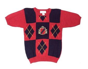 d3c4a97637 Vintage 90s Preppy Sweater Size Petite Red Blue Argyle Petite Sophisticate