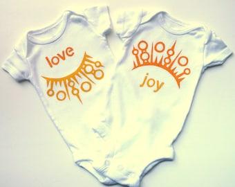 Love and Joy Twin Onesies Set (Golden Yellow and Tangerine Orange) Newborn Size Baby Bodysuit -- Twin Set
