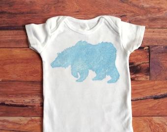 Bear in a Winter Storm (Textured Blue Gray on White Onesie) - 0-3M Baby Bodysuit