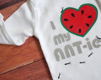 I Heart my ANT-ies Onesie (Watermelon red with Grays) Newborn Baby Bodysuit, fits 6-9lbs -- Love my Aunts